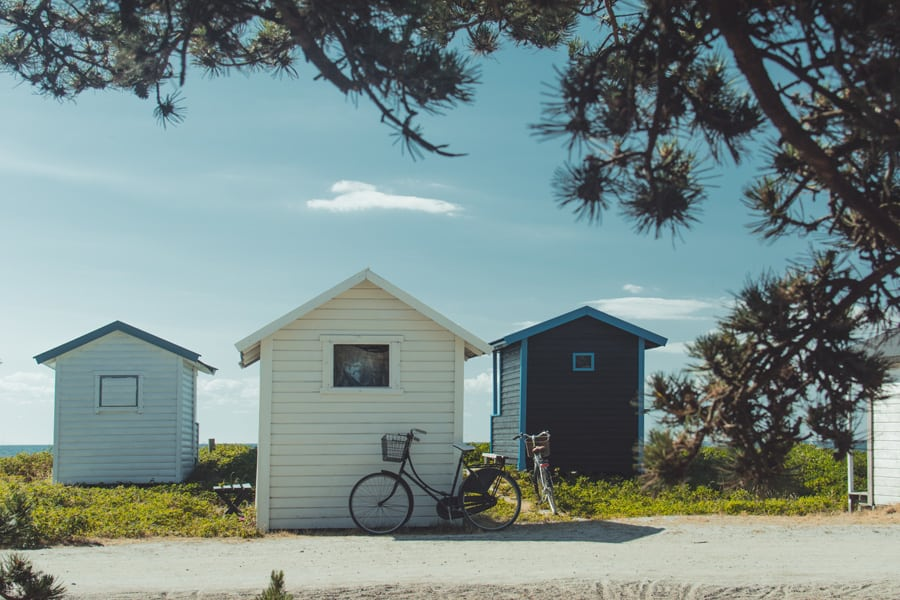 Tiny house communities with a parked bicycle