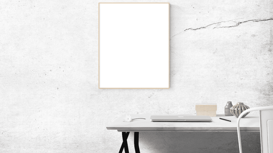 white table with white frame on a white wall